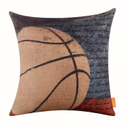 LINKWELL 46cm x 46cm Vintage American Style Basketball Popular Sports in USA with Small Words for Man Cave Burlap Throw Pillow Case Cushion Cover