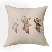 Golden Buck Embroidered Contemporary Decorative Cushion Throw Pillow 50cm x 50cm with Zipper, Fills Included, by Calla Angel
