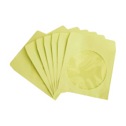 NuLink Premium Thick Yellow Paper CD DVD Sleeves Envelope With Window Cut Out and Flap [1000 Packs, 80G Yellow, 13cm x 13cm ]
