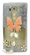 LG V20 Case, STENES [Luxurious Series] 3D Handmade Shiny Crystal Bling Case with Retro Bowknot Anti Dust Plug - Pretty Butterfly Pearl Pendant Flowers LOVE / Orange
