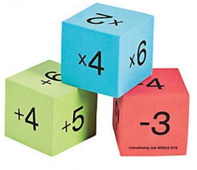 Operations Dice, Math Dice for Games, Math Facts Practise, Set of 12