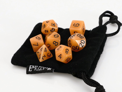 Polyhedral Dice Set Salmon Opaque - 7 Piece - PRISTINE Edition - FREE Carrying Bag Hand Checked Quality With