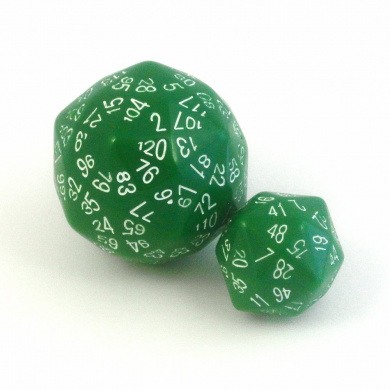 120-sided and 48-sided Dice in Green