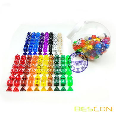 Bescon Assorted Coloured RPG Dice Pack of 126 Polyhedral Dice 18 Complete Sets of 7 Dice 18 Different Colours - Clear Dice Jar Included