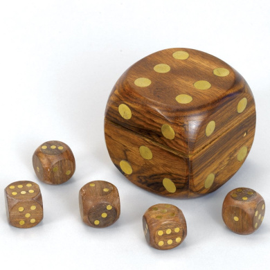 Bits and Pieces - The Game of Indian Dice - Beautiful Wooden Set of Poker Dice Game