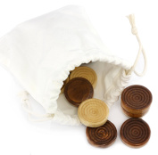 Classic Stackable Wooden Checkers in Natural Wood Colour (24 pieces); With Drawstring Cloth Storage Bag