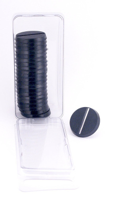 Value Pack of 20 - 25MM Round Slotted Black Light Infantry Miniature Model Bases for TableTop or Miniature WarGames
