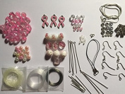 100 Piece Breast Cancer Awareness Jewellery Making Kit, Glass, Crystals, Tibetan/Sterling Silver,Charms, Varies of Size 4mm to 24mm,Findings