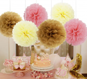 SOOKOO 15 Pieces 25cm Assorted Colours Tissue Paper Pom Poms Flower Balls For Birthday Wedding Party Baby Shower Decorations, Pale Pink, Tan, Cream