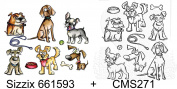 Bundle CRAZY DOGS Sizzix Framelits Die Set 661593 + Stampers Anonymous Stamps CMS271