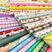 flic-flac 25pcs 12 x 12 inches (30cmx30cm) Cotton Craft Fabric Bundle Squares Patchwork Lint DIY Sewing Scrapbooking Quilting Dot Pattern Artcraft