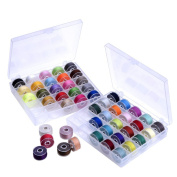 Outus Prewound Thread Bobbins with Bobbin Box for Brother/ Babylock/ Janome/ Elna/ Singer, Assorted Colours, 50 Pieces