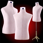 Male Dress Form Torso with Blond Wood Stand