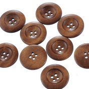 Souarts Coffee Round Shape 4 Holes Wooden Buttons 25mm Pack of 50pcs