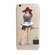 iPhone 6 Plus Case, Axiba Girl Printed Transparent TPU Carring Case Cover for iPhone 6s Plus 14cm