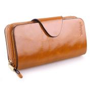 BIG SALE-60% OFF-Yafeige Large Luxury Women's RFID Blocking Tri-fold Leather Wallet Zipper Ladies Clutch Purse