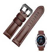 For Garmin Fenix 3 Watch, AMA(TM) Genuine Leather Watch Replacement Sports Wristbands Straps + Black Lugs for Garmin Fenix 3