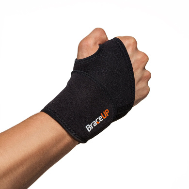 BraceUP Adjustable Wrist Support, One Size Adjustable (Black)