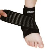 Faswin 2 Pack Nonslip Breathable Ankle Brace with Compression Wrap Support, One Size, Black