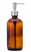 Amber Glass Jar Soap and Lotion Dispenser with Stainless Steel Pump - 470ml - by Jarmazing Products