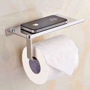 Bosszi Wall Mount Toilet Paper Holder, SUS304 Stainless Steel Bathroom Tissue Holder with Mobile Phone Storage Shelf, Brushed Aluminium