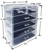Sodynee Cosmetics Makeup and Jewellery Storage Organiser Case Display Boxes, 4 Large and 2 Small Drawers