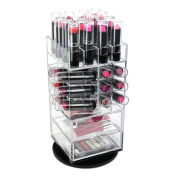 Ikee Design Premium Acrylic Rotating Cosmetic 40 Lipsticks Tower Organiser with 2 Drawers & Removable Dividers