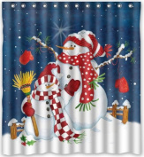 170cm (w) x 180cm (h) Winter Holiday Merry Christmas Happy Snowman Theme Print 100% Polyester Bathroom Shower Curtain Shower Rings Included