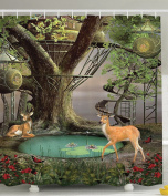 Deer Decor Woods Tree House Natural Landscape Greenery Art Wild Jungle Wildlife Enchanted Mystic Forest Fairy Design Home Decorations for Bathroom Shower Curtain Green Grey Turquoise Khaki Brown Red