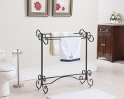 Kings Brand Pewter Finish Free Standing Quilt Towel Rack Stand