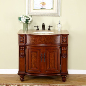 Silkroad Exclusive Travertine Stone Top Single Sink Bathroom Vanity with Cherry Finish Cabinet, 90cm