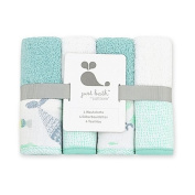 Just Bath by Just Born 4-Pack Under the Sea Washcloths in Sea Glass