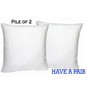 [SET OF 2] 46cm W X 46cm L Mybecca Hypoallergenic Pillow Insert White Polyester, Made in USA
