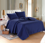 Navy Solid Colour Quilt 220cm L-220cm W, 2 Shams 50cm L-70cm W (inner 48cm - 60cm ). Hypoallergenic, Finely Stitched, All Season, Coverlet, Bed-cover, Washable, Durable.