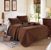 Chocolate Solid Colour Quilt 230cm L-260cm W, 2 Bonus Shams 50cm L-70cm W (inner 48cm - 60cm ). Hypoallergenic, Finely Stitched, All Season, Coverlet Bed-cover, Washable Durable. 6-month free-return policy