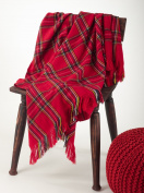 Classic Red Plaid Design Throw Blanket, 130cm x 150cm