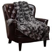 Chanasya Super Soft Warm Elegant Cosy Fuzzy Fur Fluffy Faux Fur with Sherpa Wavey Pattern Plush Dark Grey Throw Blanket (130cm x 170cm )- Solid Wave Pattern Charcoal Grey