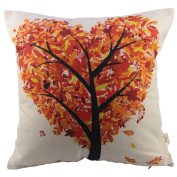 HOSL Orange Heart Shape Tree Square Decorative Throw Pillow Case Cushion Cover 17.317.3 Inch