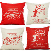 HOSL SD12 Merry Christmas Series Throw Pillow Case Decorative Cushion Cover Pillowcase Square 46cm - Set of 4