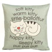 Decorbox Happy Sleepy Kitty Print Cat Pillow Cushions Cover Throw Pillow Cover For Sofa Office Decorative Pillowslip Gift Ideas Household Pillowcase 46cm x 46cm