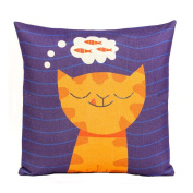 Highsun The Cat Imagination On Fish Print Rural Cotton Pillow Cushions Cover 18*46cm Cat Throw Pillow Cover For Sofa Office Decorative Pillowslip Gift Ideas Household Pillowcase