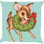 Leaveland Retro Vintage Baby Santa Claus Reindeer Flower Wreath Cute Pillow Cover 46cm x 46cm
