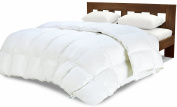 Equinox Comforter - (350 GSM) White Alternative Goose Down Duvet (Queen) - Hypoallergenic, Plush Siliconized Fiberfill, Box Stitched, Protects Against Dust Mites and Allergens
