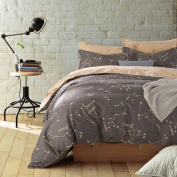 Mumgo Home Bedding for Adult Kids,Constellation Pattern 4PC Duvet Cover Sets Bedding Sets 100% Cotton(No Comforter),Queen/Full Size
