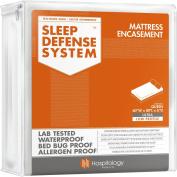 The Original Sleep Defence System - Waterproof / Bed Bug / Dust Mite Proof - PREMIUM Zippered Mattress Encasement & Hypoallergenic Protector - 150cm by 200cm , Queen - ULTRA-LOW PROFILE 15cm