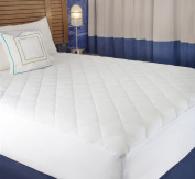 Mattress cover, White Cotton-Poly Hypoallergenic Comfortable Soft - Quilted Fitted Mattress pad Queen Size 150cm x 200cm - Up To 50cm Deep