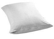 Pillow Protector - 2 Pack Hypoallergenic Poly-Cotton Blend Ultra Soft Light Weight Water and Dust Resistant Solid White Zippered Protector For Pillows by Pacific Linens