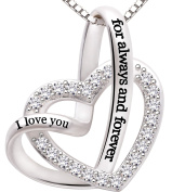 "ALOV Jewellery Sterling Silver ""I love you for always and forever"" Love Heart Cubic Zirconia Necklace"