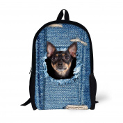 HUGSIDEA Cut Denim Blue Backpack for Kids Cat Head School Book Bag