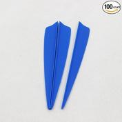 100pcs 10cm Shield Plastic Blue Arrow TPU Fletching Vane Archery Bow For Hunting